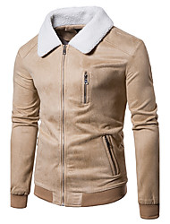 cheap -Men's Daily Going out Vintage Spring Fall Jackets,Solid Shirt Collar Long Sleeves Regular Cotton