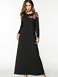 cheap -Women's Daily Shift Swing Dress,Solid Floral Round Neck Maxi Long Sleeve Cotton All Season Mid Rise Micro-elastic Opaque