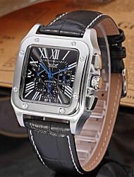 preiswerte -Jaragar Herrn Armbanduhren für den Alltag Modeuhr Kleideruhr Automatikaufzug 20 m Cool Leder Band Analog Freizeit Weiß Schwarz / Edelstahl