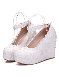 cheap -Women's Shoes Leather Spring Summer Novelty Comfort Wedding Shoes Round Toe for Wedding Party & Evening White Pink
