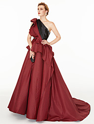 cheap -A-Line Princess One Shoulder Court Train Satin Taffeta Formal Evening Dress with Color Block Pleats Side Draping by TS Couture®