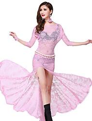 baratos -Devemos vestidos de dama da barriga Padrão de rendas de poliéster de desempenho feminino / impressão de vestidos altos de manga curta