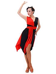Latinské tance Šaty Dámské Taneční vystoupení Čínský nylon Süt Filtresi Bez rukávů Šaty