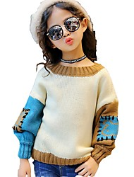 Girls' Color Block Blouse,Cotton Spandex Winter Fall Long Sleeves Cute Casual Active Wine Khaki