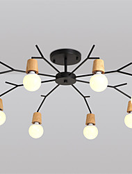 cheap -8 Heads Northern Europe Wood Art Deco Metal bough Ceiling Light Living Room Dining Room Flush Mount