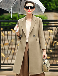 Women's Wear to work Daily Wear Simple Casual Winter Coat,Solid Tailored Collar Long Sleeves Regular Wool Pocket