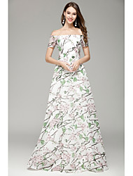 cheap -A-Line Bateau Floor Length Organza Formal Evening Dress with Pattern / Print by YIYIAI