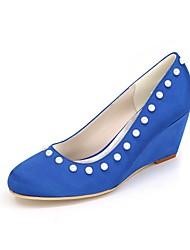 preiswerte -Damen Schuhe Satin Frühling Sommer Pumps Hochzeit Schuhe Keilabsatz Runde Zehe Strass für Hochzeit Party & Festivität Purpur Rot Blau