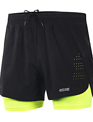 cheap -Arsuxeo Men's With Inner Shorts Running Shorts - Black, Light Yellow Sports Spandex Shorts Activewear Quick Dry, Lightweight Materials, Reflective Strips Stretchy