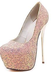 preiswerte -Damen Schuhe Glanz Frühling Herbst Komfort Pumps High Heels Für Kleid Party & Festivität Weiß Schwarz Rosa