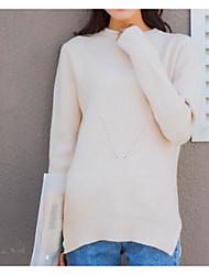 Standard Pullover Da donna-Cotone Tinta unita Dolcevita Manica lunga Lana Cotone Acrilico Inverno Medio spessore Media elasticità