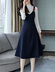 Set Robes Costumes Femme,Couleur Pleine Décontracté / Quotidien simple Hiver Sans Manches A Bretelles Coton