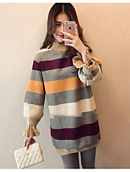 Women's Sports & Outdoor To-Go Hoodie & Sweatshirt Striped Round Neck Micro-elastic Cotton Long Sleeves Fall