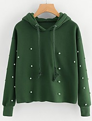 cheap -Women's Going out To-Go Cute Street chic Hoodie Solid Hooded Hoodies Micro-elastic Cashmere Cotton Spandex Long Sleeves Winter Spring/Fall
