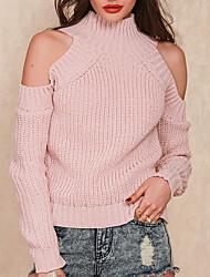 preiswerte -Damen Standard Pullover-Lässig/Alltäglich Einfach Solide Rollkragen Langarm Baumwolle Mittel Mikro-elastisch