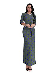cheap -Women's Daily Sheath Dress,Polka Dot Round Neck Maxi Half Sleeve Polyester All Season Mid Rise Micro-elastic Opaque
