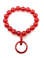 cheap -Women's Onyx Ring Bracelet Strand Bracelet - Simple Elegant Circle Red Bracelet For Party Gift
