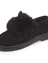cheap -Women's Shoes PU Winter Comfort Loafers & Slip-Ons Round Toe For Casual Leopard Gray Black