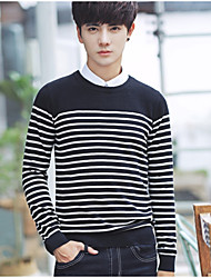 cheap -Men's Daily Regular Pullover,Solid Striped Color Block Round Neck Short Pant Wool Linen Autumn Medium strenchy