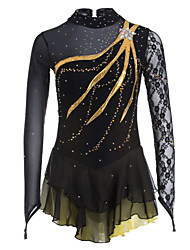 Figure Skating Dress Women's Girls' Ice Skating Dress Black Spandex Lace Rhinestone Performance Leisure Sports Skating Wear Handmade