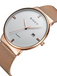 abordables -Homme Montre Bracelet Calendrier / Cool Acier Inoxydable Bande Luxe / Décontracté / Mode Noir / Argent / Or Rose