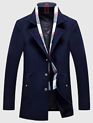 Недорогие -Для мужчин На каждый день Зима Осень Пальто Рубашечный воротник,Простой Однотонный Длинная Длинные рукава,Шерсть Хлопок Акрил Полиэстер
