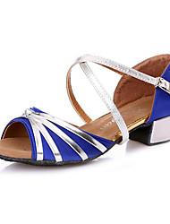 Недорогие -Для женщин Латина Дерматин Кроссовки С цельной подошвой Профессиональный стиль На толстом каблуке Черный Пурпурный Красный Синий