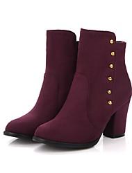 abordables -Mujer Zapatos Aterciopelado Primavera / Otoño Botas hasta el Tobillo / Botas de Moda / Confort Botas Dedo redondo Botines / Hasta el