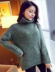 Standard Pullover Da donna-Casual Tinta unita All'americana Manica lunga Lana d'angora Inverno Primavera/Autunno Medio spessore