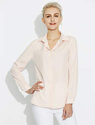 cheap -Women's Cotton Shirt - Solid Colored Pure Color Shirt Collar