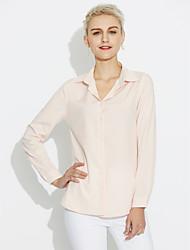 preiswerte -Damen Solide Hemd, Hemdkragen Reine Farbe Baumwolle