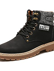 cheap -Men's Shoes PU Fall Winter Comfort Boots Lace-up For Casual Brown Yellow Black
