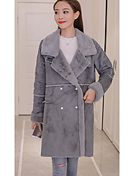 cheap -Women's Daily Simple Casual Winter Fall Coat,Solid Long Sleeves Long Lamb Fur