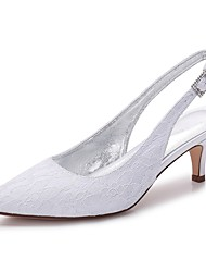 cheap -Women's Shoes Lace / Satin Spring / Summer Comfort Wedding Shoes Pointed Toe Rhinestone / Sparkling Glitter / Hollow-out White / Ivory