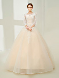 cheap -Ball Gown Jewel Neck Floor Length Tulle Wedding Dress with Beading Lace by SG
