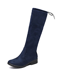 cheap -Women's Shoes Leatherette Winter Fall Slouch Boots Boots Chunky Heel Round Toe Knee High Boots Buckle for Casual Dress Black Blue