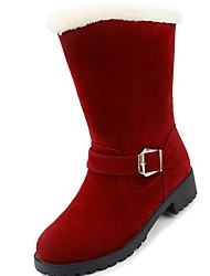 cheap -Women's Shoes PU Winter Comfort Snow Boots Fur Lining Boots Round Toe Mid-Calf Boots for Dress Black Red Camel
