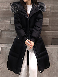 Women's Long Down Coat,Casual Daily To-Go Solid-Polyester Fox Fur Long Sleeves