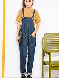 economico -Da donna Pantaloni Media elasticità Tuta da lavoro Jeans Pantaloni,Tinta unita Poliestere