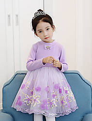 Girl's Holiday Color Block Dress,Cotton Rayon Winter Fall Long Sleeves Active Princess Blushing Pink Purple