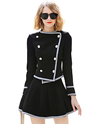 economico -Set Gonna Completi abbigliamento Da donna Quotidiano Per uscire Casual Moda città sofisticato Tinta unita Monocolore Poliestere Manica