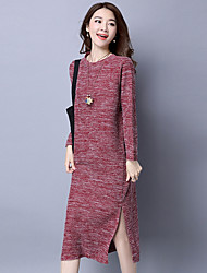 cheap -Women's Daily Going out Tunic Dress,Patchwork Round Neck Knee-length Long Sleeves Cotton Spring Fall Mid Rise Micro-elastic Medium