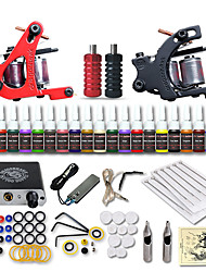 cheap -Beginner Tattoo Starter Kits 2 Cast Iron Tattoo Machines 20 Inks Sets Mini Power Supply No Carrying Case 10 Tattoo Needles 1 Practice Skin