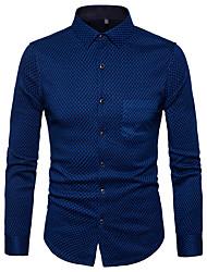 cheap -Men's Daily Street chic Shirt Shirt Collar Long Sleeves Polyester