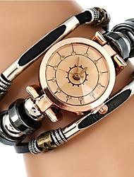 baratos -Mulheres Quartzo Relógio de Pulso Chinês Cronógrafo Impermeável PU Banda Casual Relógio Criativo Único Fashion Preta Marrom