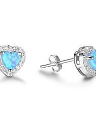 abordables -Mujer Pendientes cortos Opal sintético Hipoalergénico Moda Plata Corazón Joyas Boda Joyería de disfraz