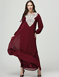 cheap -Women's Party / Going out Boho Lantern Sleeve Loose / Swing / Abaya Dress - Patchwork / Embroidered Lace Maxi / Fall / Winter