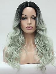Hivision Femme Perruque Synthétique Long Bouclé Noir/ Vert Cheveux Colorés Au Milieu Perruque de Cosplay Perruque Naturelle Perruque de