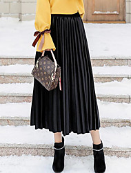 baratos -Mulheres Moda de Rua Saia Saias - Sólido / Outono