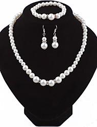 Femme Set de Bijoux Perle Strass Rétro Elégant Mariage Soirée Cristal Autrichien Goutte Bijoux de Corps 1 Collier 1 Bracelet Boucles